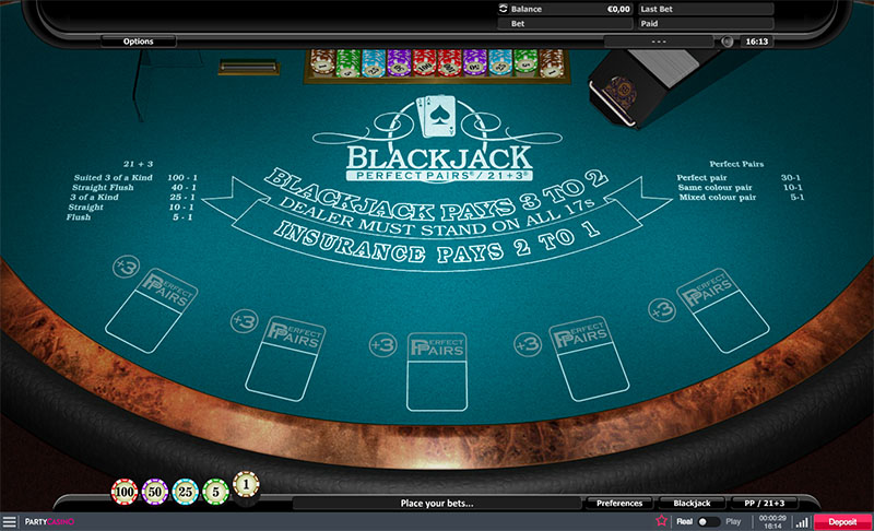 Blackjack Perfect Pairs & 21+3