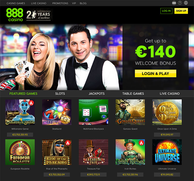 888casino Website Homepage