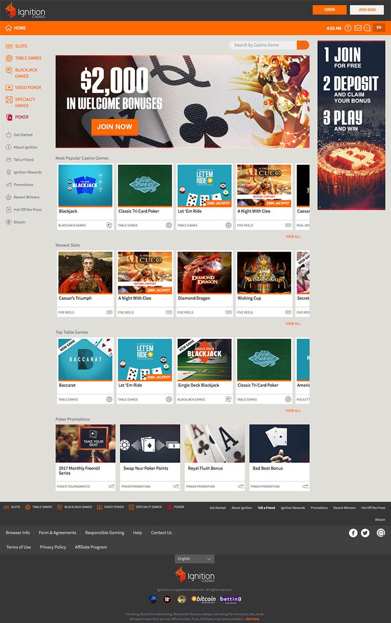 Ignition Casino Website Homepage