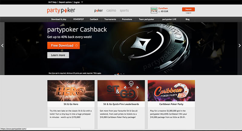 partypoker Website Homepage